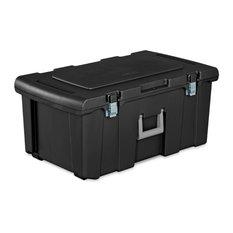 Sterilite® 18429001 Footlocker Storage Box, Black w/ Titanium Handle, 92 Qt