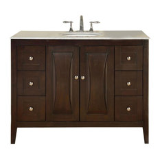 "48"" Modern Single Sink Bathroom Vanity, Carrara White Marble Top"