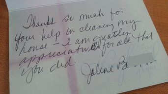 """Thank you"" note for great house cleaning job"