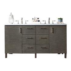 "Metropolitan 60"" Silver Oak Double Vanity w/ 3cm Snow White Quartz Top"