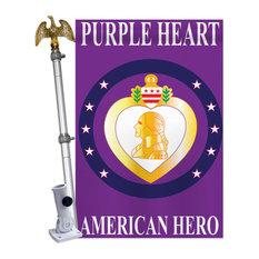 Purple Heart Americana Military House Flag Set