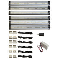6 piece neutral white LED strip light kit, 26W dimmable hardwired power supply