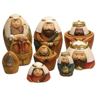 Roman Nesting Dolls Nativity Set - 9 Piece Christmas Holiday Decor Set