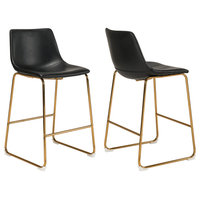 Durango Counter Stools, Vintage Leather, Set of 2, Black/Gold