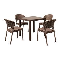 Compamia Daytona 5-Piece Outdoor Square Dining Set, Brown