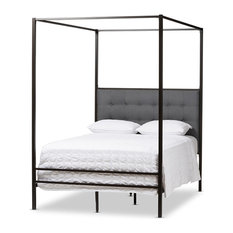 Baxton Studio - Baxton Studio Eleanor Vintage Industrial Black Finished Metal Canopy Queen Bed - Canopy  sc 1 st  Houzz & Canopy Beds | Houzz