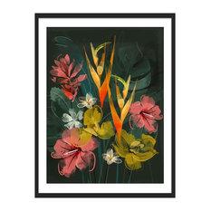 """Tropical Flowers"" Floral Art Print, Black Framed, 30x40 cm"