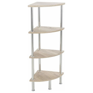 Modern Corner Display Shelving, Steel Frame, 4 Open Compartment White Washed Oak