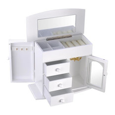 Jewelry Box Case Built-In Mirror Ring Earring Necklace Organizer Storage, White