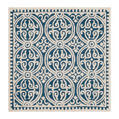Safavieh Cambridge Collection CAM123 Rug, Navy Blue/Ivory, 10' Square