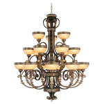 Livex Lighting - Seville Chandelier, Palatial Bronze With Gilded Accents - Neoclassical influence is merged with high fashion glamour in this luxrious foyer chandelier. The exquisite gilded accents give this light lasting elegance with the combination of palacial bronze finish and detailed patterns is delightful. Eighteen hand crafted gold dusted art glass shades complement the extensive detail of the fixture.