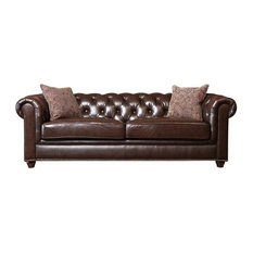 Bowery Hill Leather Sofa Brown Sofas