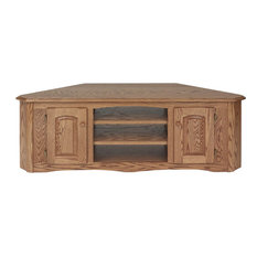 Country Style Solid Oak Corner TV Stand With Cabinet Chesnut
