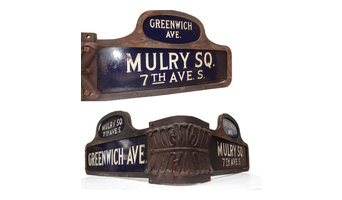 Vintage Greenwich Ave & Mulry Square New York City Street Sign