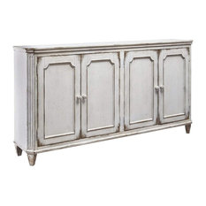 Rustic Sideboard Engineered Wood With 4 Cabinet Doors Distressed Antique Whit