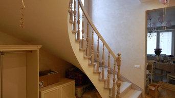 Бетонная лестница с отделкой деревом