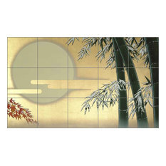 "Ceramic Tile Mural Backsplash, Bamboo by Zigen Tanabe, 40""x24"""