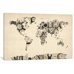 Old sheet music world map canvas art by michael tompsett map of the world map from old clocks by michael tompsett canvas print 18x12 gumiabroncs Choice Image