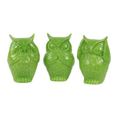 Ceramic Owl No Evil Figurines, 3-Piece Set, Lime Green