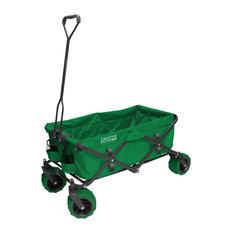 All Terrain Folding Wagon, Green   Wheelbarrows And Garden