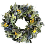 VanCortlandt Farms - Lavender Bundle Wreath, Small - This Naturally charming combination of dried flowers, grains, herbs and leaves creates a wreath featuring the best of nature.  Earthy green, blue, purple and white adorn this attractive wreath, making it ideal on the front door of a rustic or French countryside-inspired home. Indoor use only is recommended.