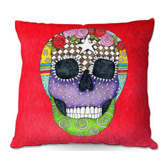 DiaNoche Outdoor Pillows by Marley Ungaro, Sugar Skull Red