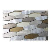 "Yaletown Long Hexagon Brushed Aluminium and Glass Mosaic Tile, 12""x12"""