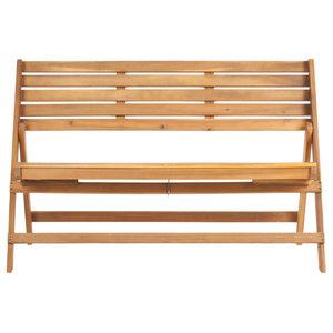 Safavieh Malaga Outdoor Folding Bench, Natural Brown