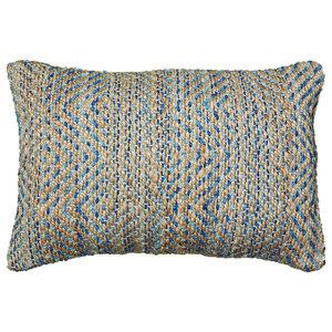 "Timbuktu Pillow, Blue and Gray, 16""x24"""