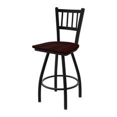 XL 810 Contessa 36-inch Bar Stool With Black Wrinkle Finish Dark Cherry Oak Seat