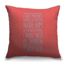 """Psalm 16:8 - Scripture Art in Teal and Coral"" Outdoor Pillow 18""x18"""