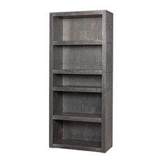 "World Bazaar Exotics - 83"" Tall Bookcase Solid Wood Clad in Zinc Rustic Modern Design 5 Shelves Unique - Bookcases"