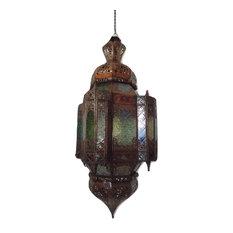 Moroccan pendant lighting houzz moroccan furniture bazaar moroccan hanging pendant lantern carved rustic finish and glass tin lamp fixture aloadofball Gallery