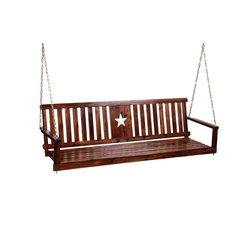 Leigh Country   Char Log Star Porch Swing   Porch Swings