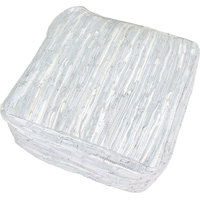 Portnam Recycled Buff Leather White Pouf