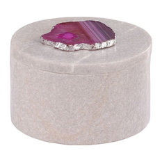 Antilles Round Box, White Marble And Pink Agate