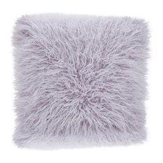 "Mongolian Faux Fur Poly Filled Throw Pillow, Lavender, 18""x18"""