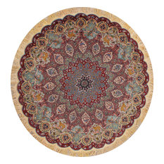 """Animal Print Tabriz Hand-Knotted Persian Round Oriental Wool Area Rug 7'1""""X7'1"""""""