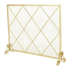 GDF Studio Hayden Single Panel Iron Fire Screen, Gold