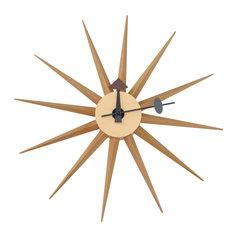LeisureMod Maxi Modern Star Shaped Silent Non-Ticking Wall Clock, Natural Wood