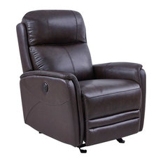 Wolfe Contemporary Recliner In Dark Brown Genuine Leather