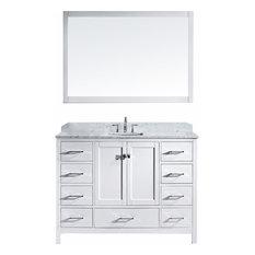 "Caroline Avenue 60"" Vanity, White, Marble Top, Square Sink, Mirror"