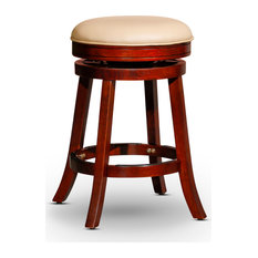DTY Indoor Living Creede Backless Leather Swivel Stool 24-inchor 30-inch Cherry/Bone