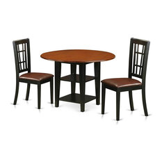 Table and Chair Set, Black Finish