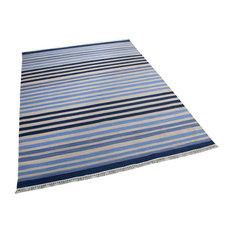 Sapphire Stripe Rug, Light Blue, Navy Blue and Sand Beige, 250x300 cm