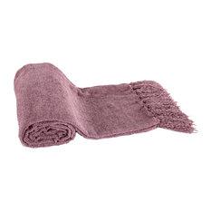 Micro Poly Chenille Throw Blanket, Mauve