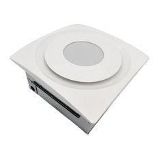 90 CFM 0.3 Sones Bathroom Fan With LED Light Ceiling/Wall Mount, White