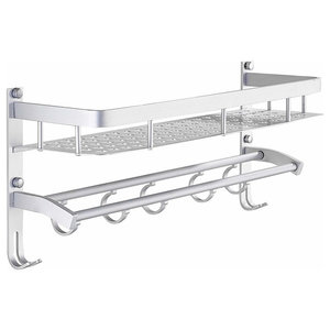 Wall Mounted Bathroom Shelf, Aluminium With Towel Bar, Hooks and 1 Tier