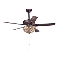 Catalina Bronze-Finished 5-Blade Crystal Ceiling Fan, 48""