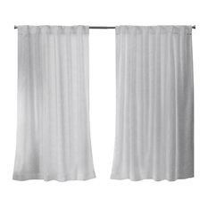 Belgian Sheer Hidden Tab Top Curtain Panel Pair, White, 50x63